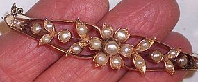 Antique Victorian 14k Gold Pearl Bangle Bracelet All Original Mint