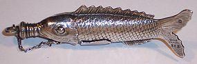 Rare Gorham Sterling Silver Fish Scent Perfume Bottle c.1890
