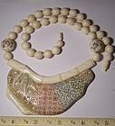 Fine Vintage Japanese Polychrome Ivory Bead Pendant Necklace Signed