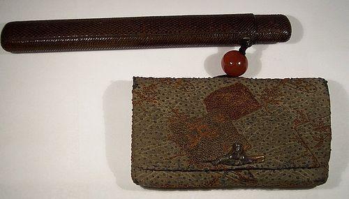 Japanese Edo Tobacco Pouch Pipe Case Sagemono Ojime Menuki