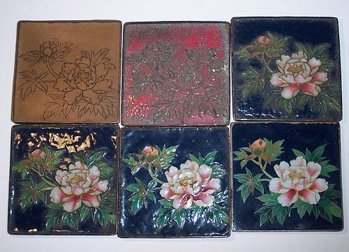 Antique Japanese Cloisonne Enamel Demonstration Set Plaques c.1890