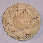 Antique Victorian Carved Ivory Pin Brooch Rose Flower Peony 1.25""