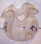 Antique Fine Crystal Mont Joye Enameled Cameo Art Glass Vase Violets
