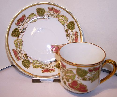 Haviland Limoges China Porcelain Art Nouveau Demitasse Cup & Saucer