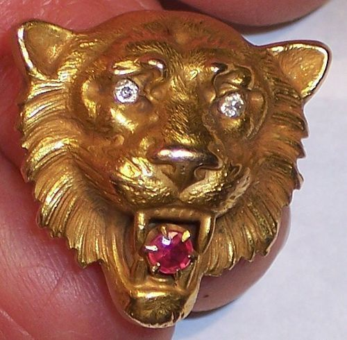 Antique American 14k Gold Lion Head Brooch Watch Pin Diamond