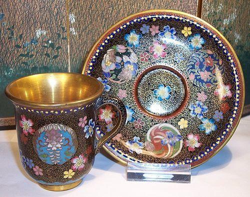 Japanese Kyoto Jippo Cloisonne Enamel Cup & Saucer attrib Takahara