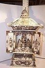 """Antique Asian Ivory 10"""" Carving Buddhist Diety Arhat Dragon Shrine"""