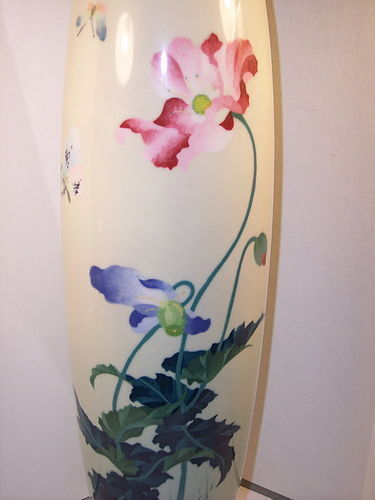 "Antique Japanese Cloisonne Enamel 11"" Wireless Vase Snd Hayashi"