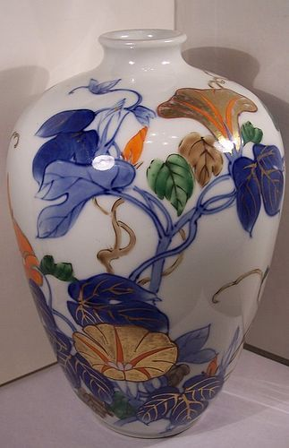 Japanese Studio Porcelain China Genroku Vase Morning Glory Blossoms