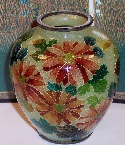 Japanese Meiji Plique a Jour Cloisonne Enamel Vase Mum Flowers