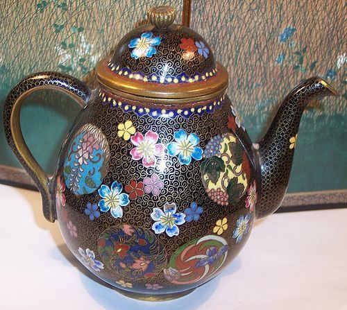 Antique Meiji  Japanese Cloisonne Enamel Teapot attr. Takahara