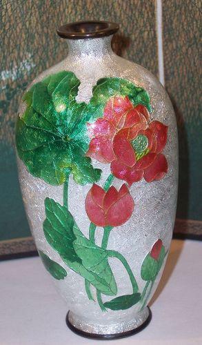 "Japanese Cloisonne Enamel Ginbari 4.5"" Cabinet Vase Lilies Sgnd Matsu"