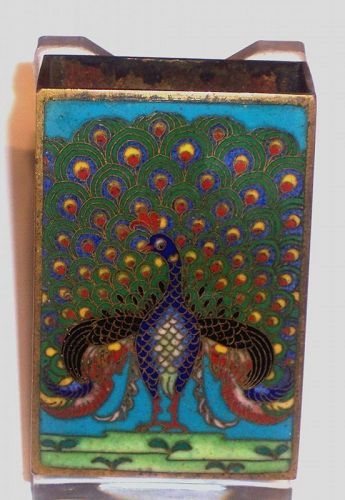 Japanese Cloisonne Enamel Match Box Holder Peacock c 1910