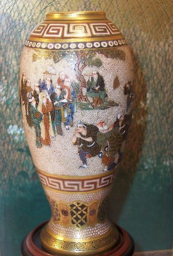 "Fine Japanese Meiji Satsuma Vase sgnd Meizan 3.5"""