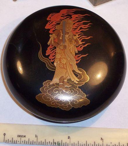 Japanese Lacquer Kogo Box Radon God of Fire