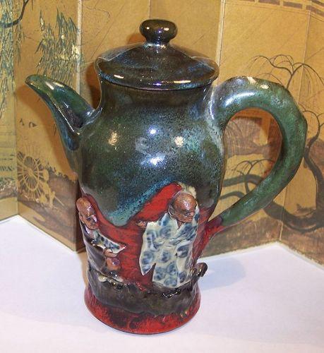 Antique Japanese Pottery Sumida Gawa Sake Pot Signed