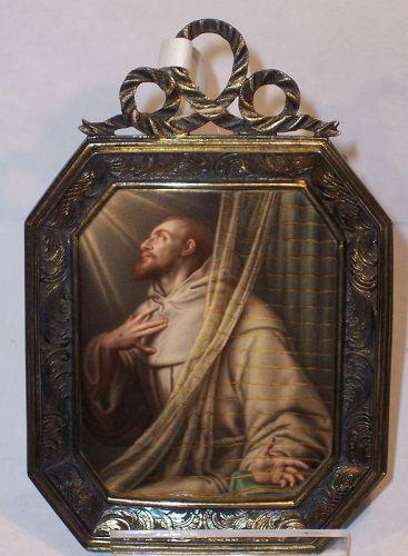 Finest Enamel Miniature Portrait St. Francis d'Assisi H Bone England