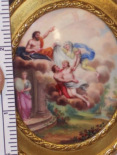 "Antique Enamel 2"" Miniature Religious Scene Christ Ascension Snd Faure"