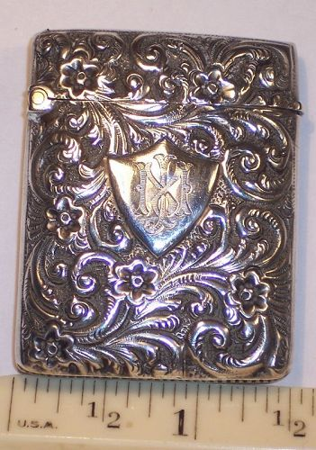 Antique Sterling English Repousse Match Safe Vesta Case