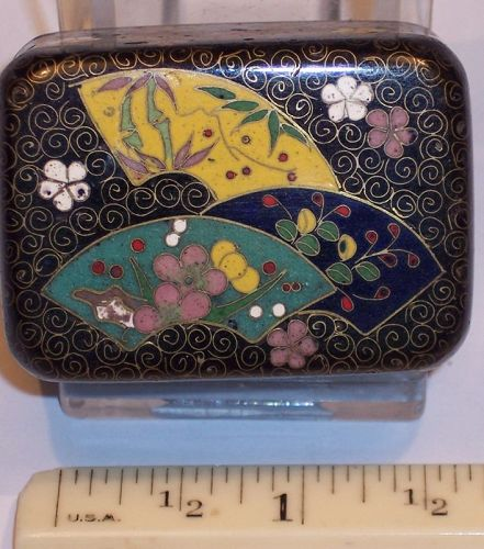 Antique Japanese Cloisonne Enamel Miniature Trinket Box attr Inaba