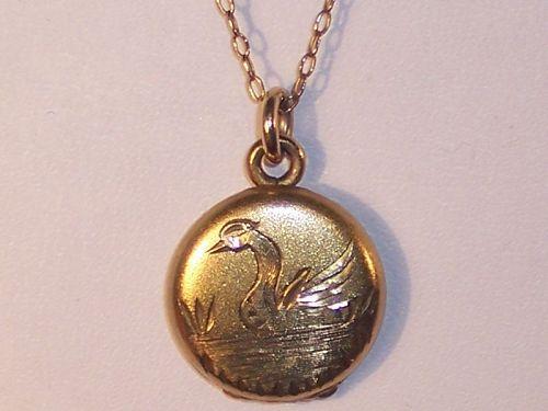 Antique Victorian Gold Locket & Chain Engraved Swan