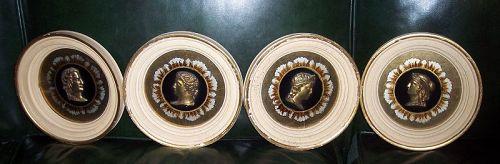4 Vintage Decorative Greek Roman Bronze Head Painted Picture Frame