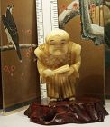 Antique Japanese Ivory Netsuke Figure Carving Man from Legend