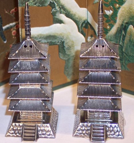 Antique Sterling Silver Japanese Pagoda Salt & Pepper Shakers