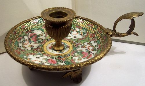 Antique Chinese Famille Rose Medallion China Chamber Candle Stick