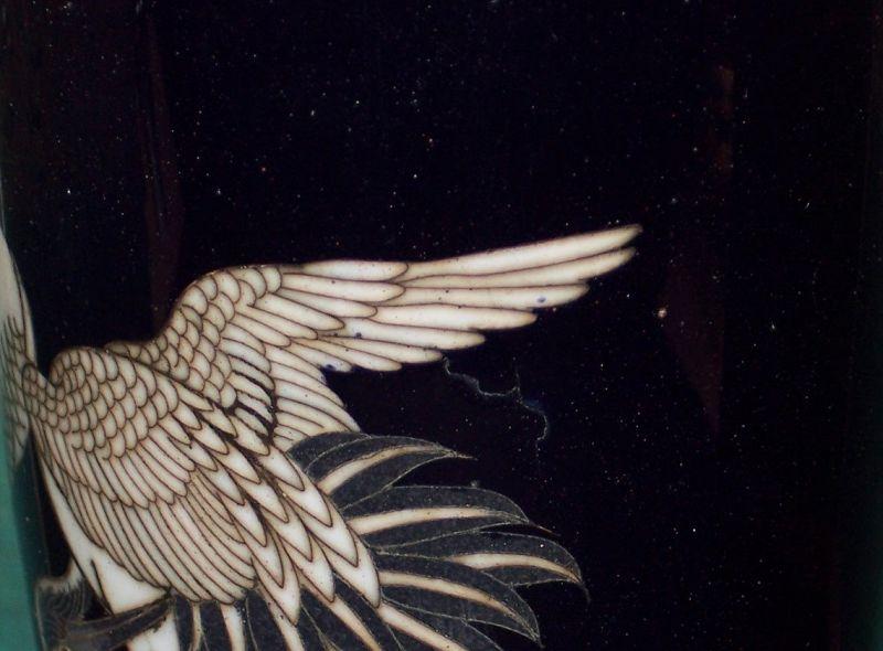 "Fine Antique Japanese Meiji Cloisonne Enamel 6"" Vase Cranes Sgnd"