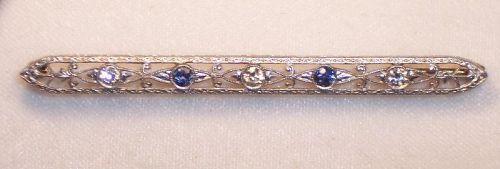 "Antique Platinum 14k Gold Sapphire Diamond Bar Brooch Pin 2 3/4"""