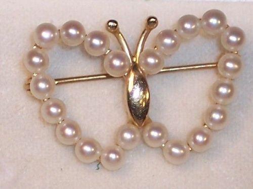 """Fine Quality Vintage 14K Gold Okoya Pearl Butterfly 1"""" Brooch Pin"""