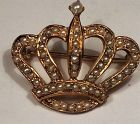 Magestic Victorian Antique 14K Gold Seed Pearl Crown Brooch Pin Mint