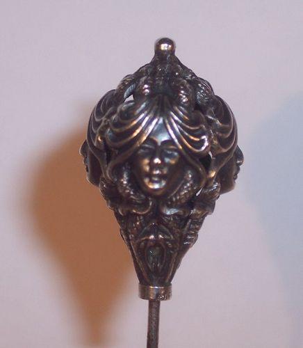 Antique Sterling  Art Nouveau 4 Lady Head Hat Pin Medusa Snakes