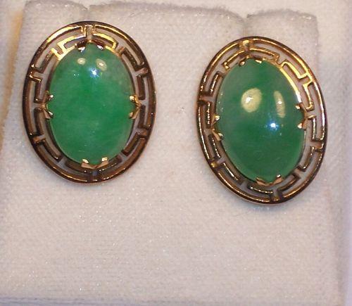 Vintage 14k Gold Chinese Green Jade Jadeite Screw Back Earrings Sgnd