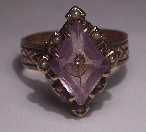 Antique 14k Gold Rose of Sharon Amethyst Diamond Pearl Ring Sz 7