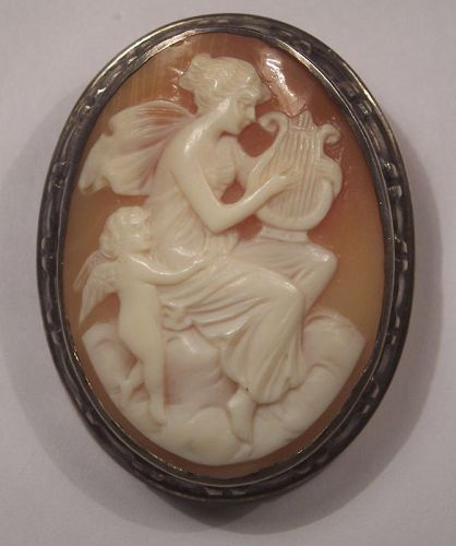 """fine Antique Cameo Psyche Cupid Harp Sterling Brooch Pin 1 3/4"""""""