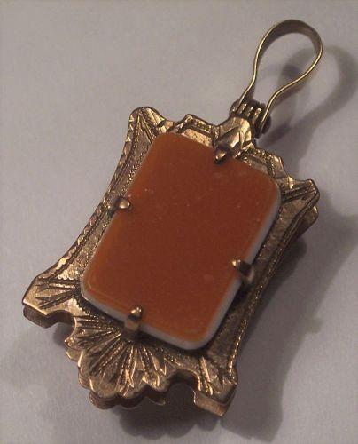 Antique Carnelian Agate Onyx Stone 14k Gold Fob Pendant Charm Locket