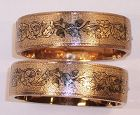 Taille D'Epargne Enamel 14k Gold Bangle Bracelets 1870 Acrorn Oak Leaf