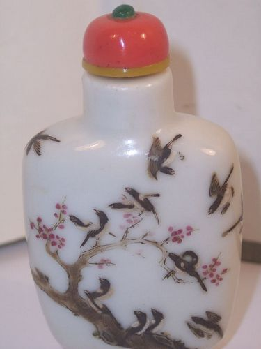 Chinese porcelain Snuff Bottle Dauquang Famille Rose HP Enamel Magpies
