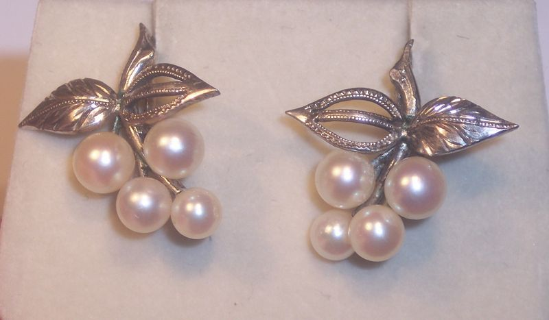 Vintage Sterling Silver Japanese Okoya Pearl Earrings Screw Back