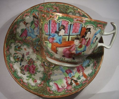Antique Chinese Export Porcelain Rose Medallion Cup & Saucer C1840