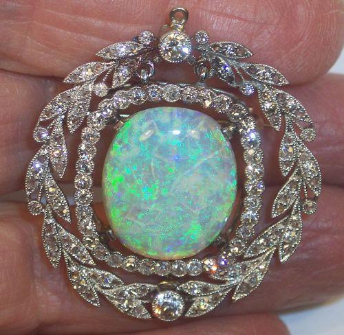Antique Edwardian Opal Diamond Platinum Brooch Pin Pendant