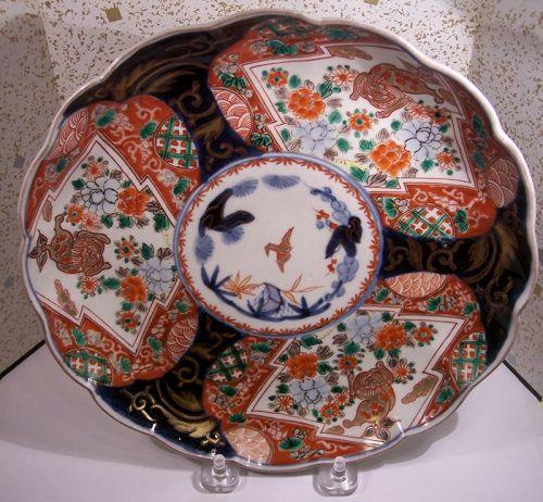 """Fine Antique Japanese 5 Color 8+"""" Imari Porcelain Plate 19th C"""