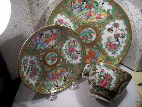 Fine  Early Rose Medallion Plate & Matching Cup & Saucer C.1840