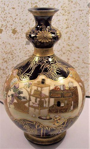 Superb Kinkozan Satsuma Double Gourd Imperial Vase c.1890