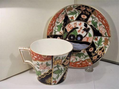 Antique English Royal Crown Derby Cup & Saucer Imari Style 19th C