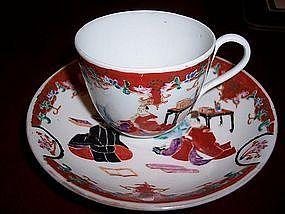 Japanese Porcelain Hand Painted Imari Kutani Arita Cup/Saucer c.1850