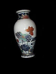 Early Japanese Satsuma Vase Gozo Blue, Lotus Blossoms