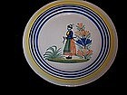 "Good French Pottery Faience Quimper Plate 9 3/4"" 1920"